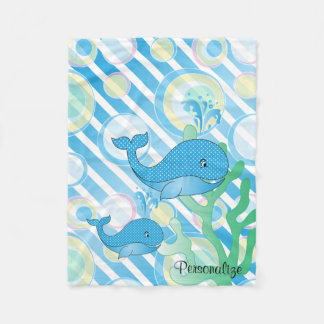 Blue Baby Boy Whale Fleece Blanket