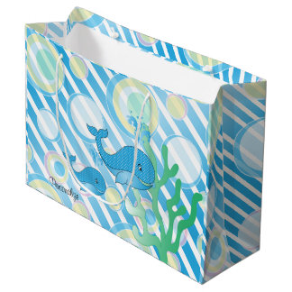 Blue Baby Boy Whale Large Gift Bag