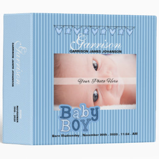 Blue Baby Boy's Custom Photo Scrapbook Vinyl Binder