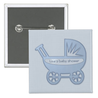 blue baby buggy 2 inch square button