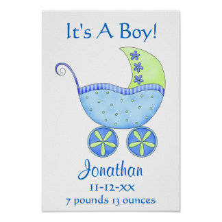 Blue Baby Buggy Boy Name Birth Date Art Print