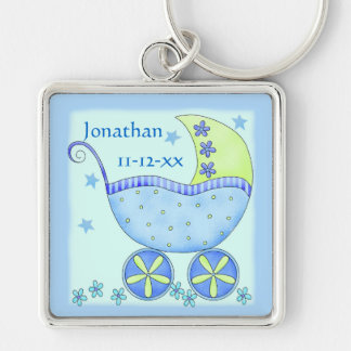 Blue Baby Buggy Boy Name Birth Date Commemorative Key Chains