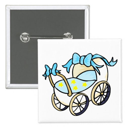 blue baby buggy pinback button