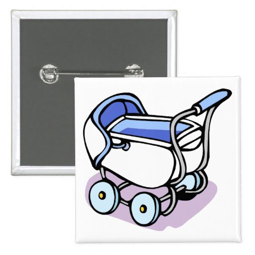 blue baby buggy button