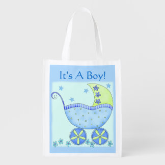 Blue Baby Buggy Carriage It s A Boy Market Tote