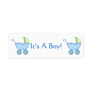 Blue Baby Buggy Carriage It's A Boy Customized Return Address Label