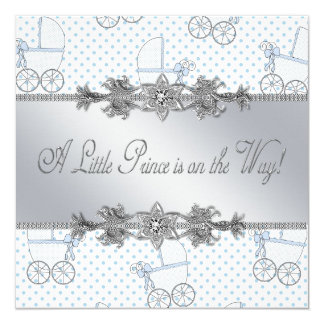 Blue Baby Carriage Baby Boy Prince Shower Card