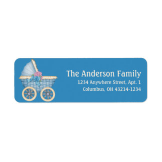 Blue Baby Carriage Stoller d1 Address Labels