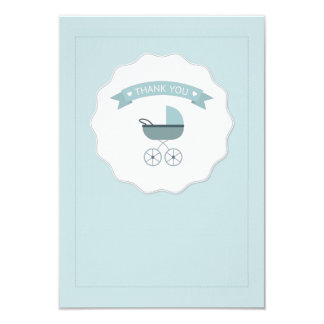 """Blue Baby Carriage Thank You Notecard 3.5"""" X 5"""" Invitation Card"""