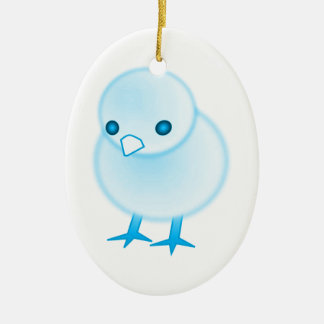 BLUE BABY CHICKIE CHICK CHICKEN CUTE CARTOON LOGO CERAMIC ORNAMENT