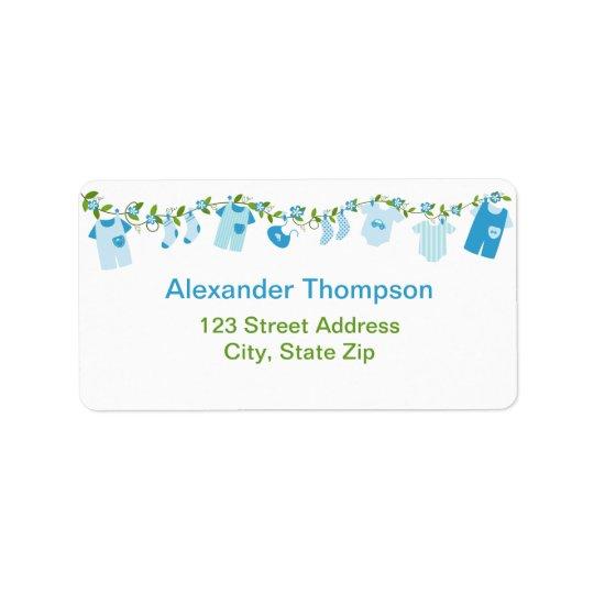 Blue Baby Clothesline Address Labels