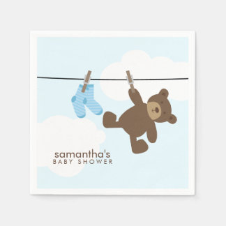 Blue Baby Clothesline and Teddy Bear Paper Napkins