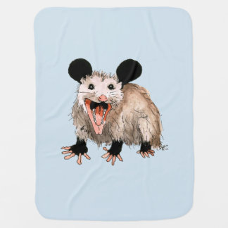 blue baby-covers with handpainted opossum baby blanket