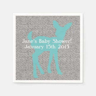 Blue Baby Deer and Gray Burlap Napkins Paper Napkin