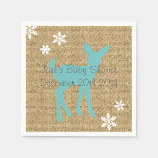 Blue Baby Deer and Snowflakes Burlap Napkins