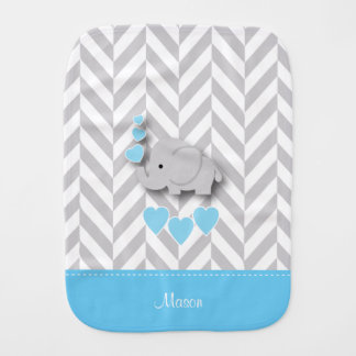 Blue Baby Elephant on Gray Chevron Pattern Burp Cloth