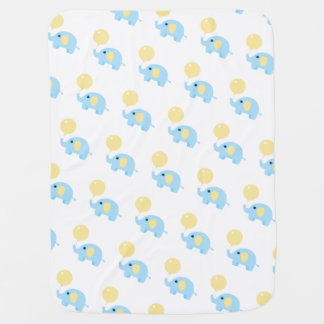 blue baby elephant with balloon baby blanket