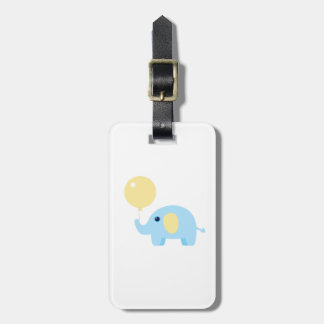 blue baby elephant with balloon luggage tag