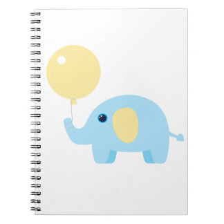 blue baby elephant with balloon notebook