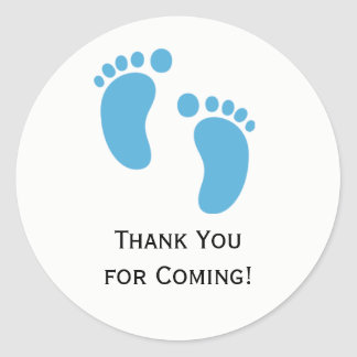 Blue Baby Feet Baby Shower Sticker Labels