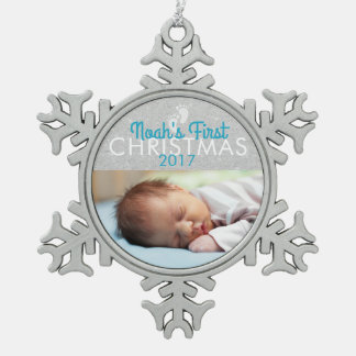 Blue Baby First Christmas Snowflake Ornament