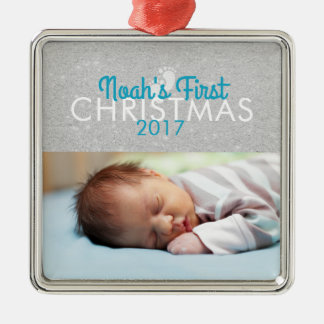 Blue Baby First Christmas Square Ornament