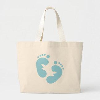 Blue Baby Footprints  Large Tote Bag