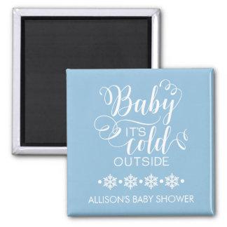 Blue Baby It's Cold Outside Shower Favor Magnet