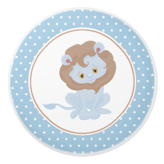 Blue Baby Lion Polka Dot Ceramic Knob