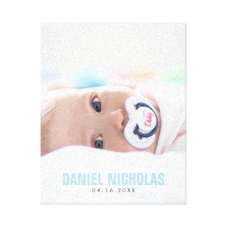 Blue Baby Name Photo Canvas Print