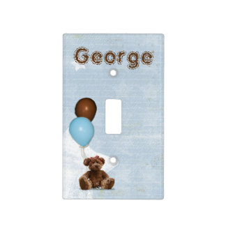 Blue Baby Nursery Teddy Bear Light Switch Cover