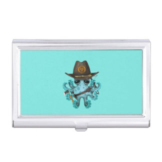 Blue Baby Octopus Zombie Hunter Business Card Holder