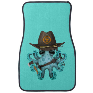 Blue Baby Octopus Zombie Hunter Car Mat