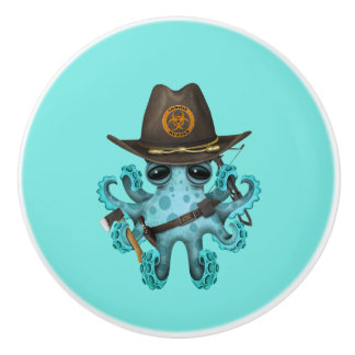 Blue Baby Octopus Zombie Hunter Ceramic Knob