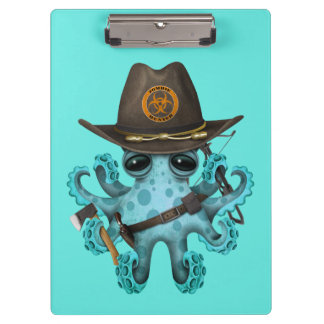 Blue Baby Octopus Zombie Hunter Clipboard