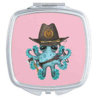 Blue Baby Octopus Zombie Hunter Compact Mirror