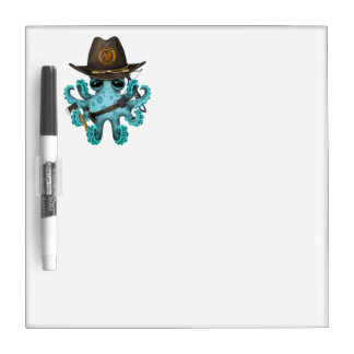 Blue Baby Octopus Zombie Hunter Dry Erase Board