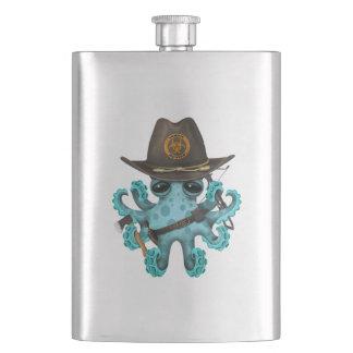 Blue Baby Octopus Zombie Hunter Hip Flask