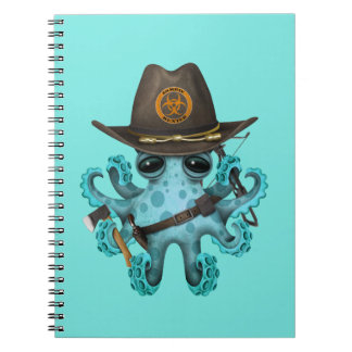 Blue Baby Octopus Zombie Hunter Notebook