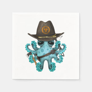 Blue Baby Octopus Zombie Hunter Paper Napkins