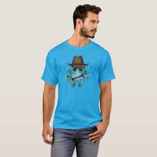 Blue Baby Octopus Zombie Hunter T-Shirt