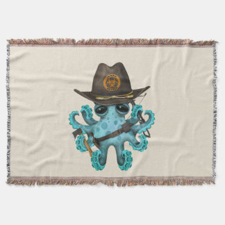 Blue Baby Octopus Zombie Hunter Throw Blanket