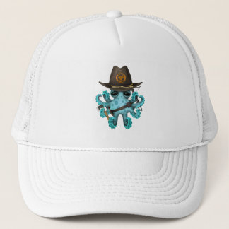 Blue Baby Octopus Zombie Hunter Trucker Hat