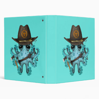 Blue Baby Octopus Zombie Hunter Vinyl Binder