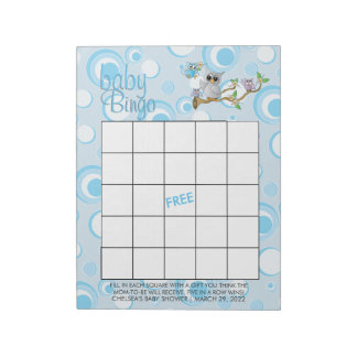 Blue Baby Owl | Baby Shower - Bingo Game Notepad
