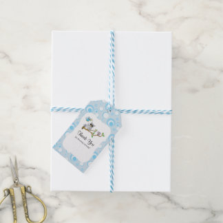 Blue Baby Owl Baby Shower Thank You Gift Tags