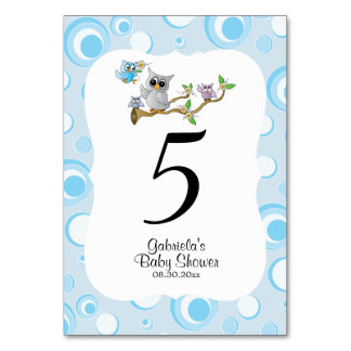 Blue Baby Owl Baby Shower Theme Table Numbers