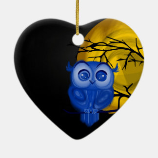 Blue baby owl on moon night background ceramic ornament