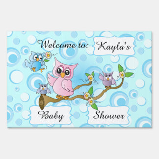 Blue Baby Owl | Shower Theme Sign
