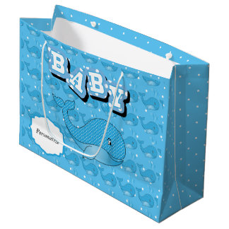 Blue Baby Polka Dotted Whale Large Gift Bag
